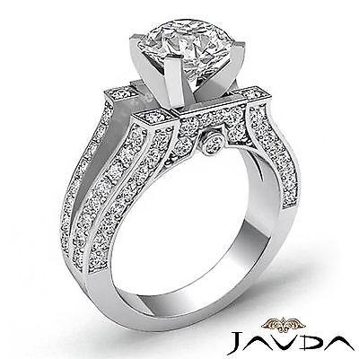 Split Shank Bezel Pave Setting Round Diamond Engagement Ring GIA F VS2 1.71 Ct 1