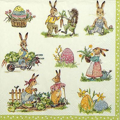 4 Single Table Party Paper Napkins for Decoupage Decopatch Craft  Rabbit Stories