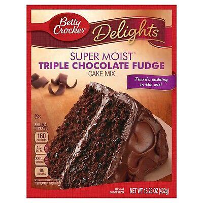 NEW DELIGHTS BETTY CROCKER SUPER MOIST TRIPLE CHOCOLATE FUDGE CAKE MIX 15.25 OZ