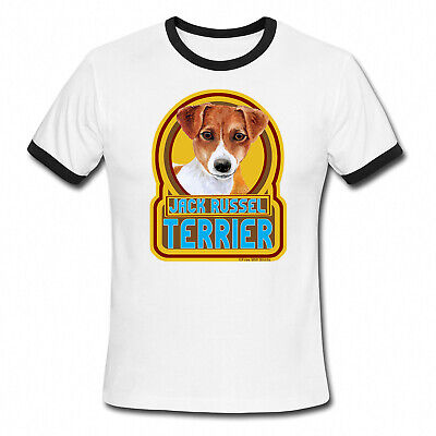 JACK RUSSELL TERRIER Dog Mens Ladies Ringer T-Shirt Retro Top Gift Birthday