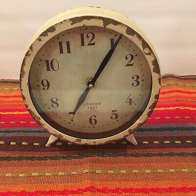 """World Market Distressed Clock Vintage Cream Shelf Kitchen Office Standing 7.25"""""""