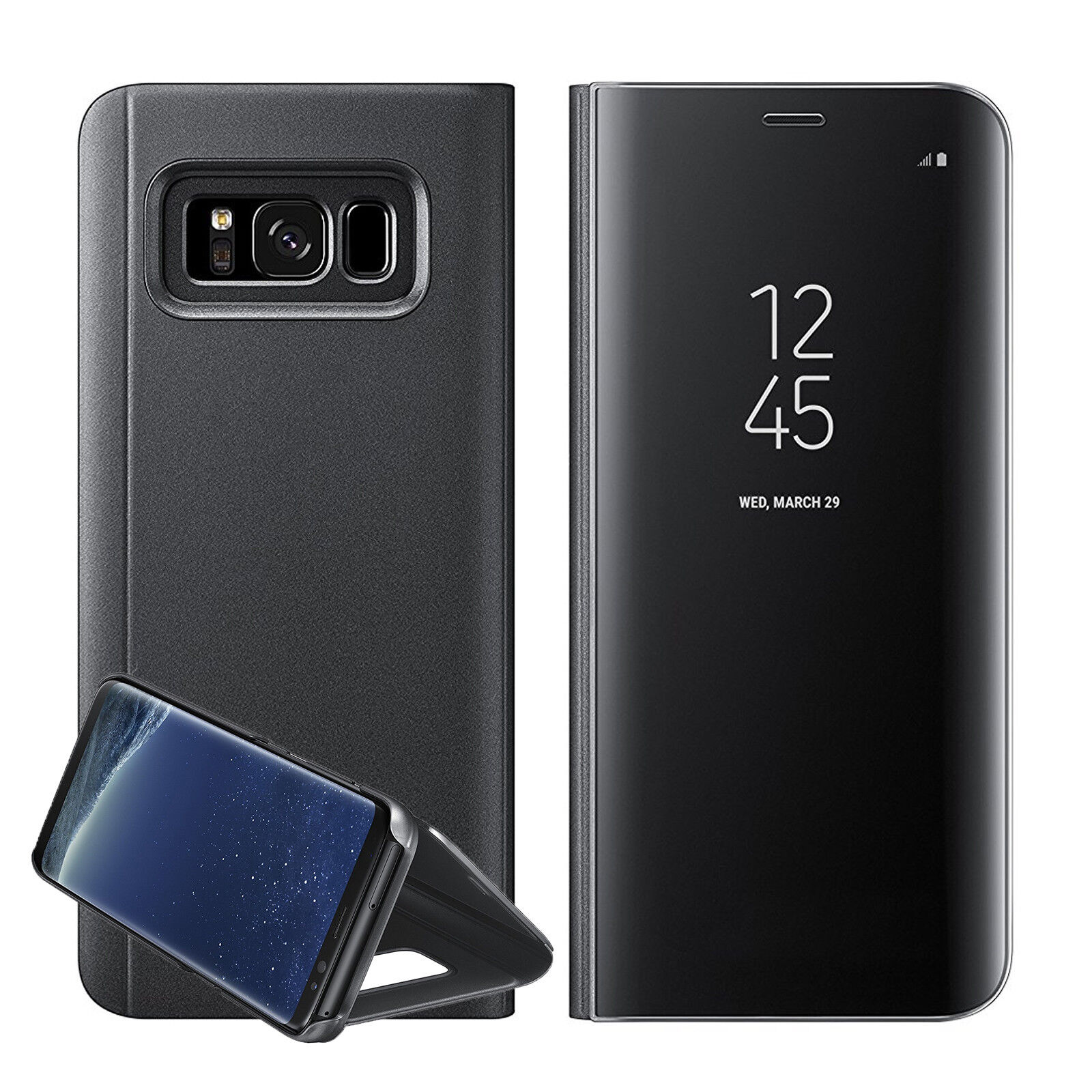 new samsung galaxy s7 s8 note 8 smart view mirror leather. Black Bedroom Furniture Sets. Home Design Ideas