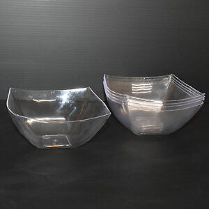 12 x16oz/454ml Clear Hard Plastic Salad Bowl Semi-Disposable Diamond Look-Party