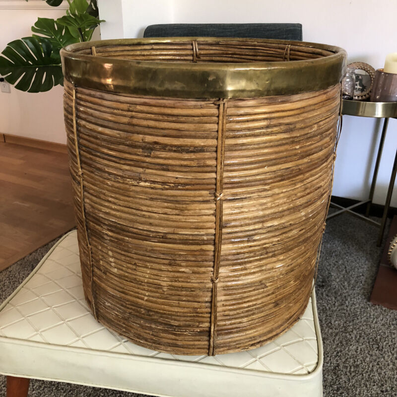 Large Mid Century Gabriella Crespi Style Brass and Rattan Bamboo planter basket