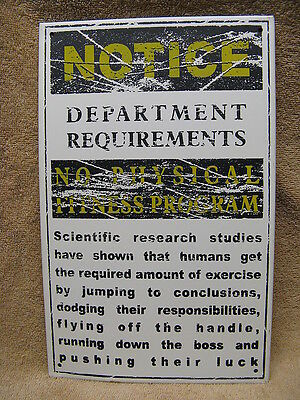 Department Requirements Tin Metal Sign Office Work Job FUNNY HUMOROUS