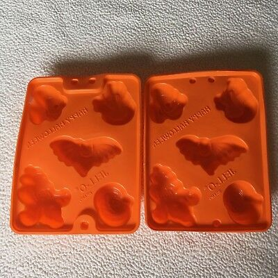 2 Jello Jiggler Molds Shots Ice Cube Molds Cat Bat Witch Ghost Pumpkin Halloween - Jello Jiggler Molds Halloween