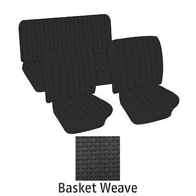 (1965-1967 Volkswagen VW T3 Squareback Wagon) Black Basket Weave Seat Cover Set Wagon Seat Cover Set