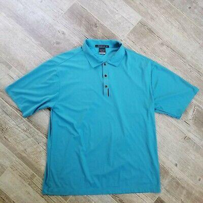 Nike Mens Tiger Woods Platinum Snap Front Blue Polo Golf Shirt Sz Medium