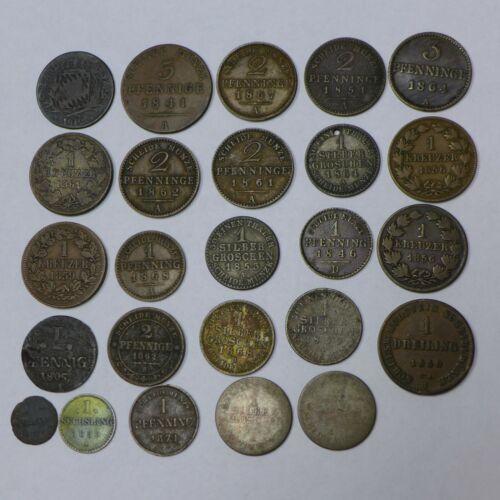 (25) GERMAN STATES Prussia, Baden, Bavaria, Hamburg, Saxony, Reuss, Etc. Coins
