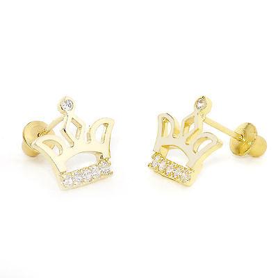 14k Gold Plated Crown Children Screwback Baby Girls Earrings