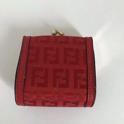 Authentic Fendi Change Purse Red Kiss Lock Closure Leather Canvas Signature
