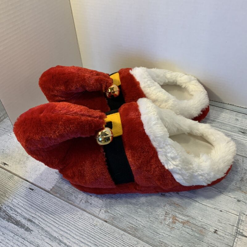 Santa's Red Elf Booties W/ Bells over Shoes Christmas fun boots size 7/8