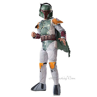 NEW Star Wars BOBA FETT Deluxe Child Costume Jumpsuit+Mask+ Cape size L(8-10Yrs)](Boba Fett Costume Kids)