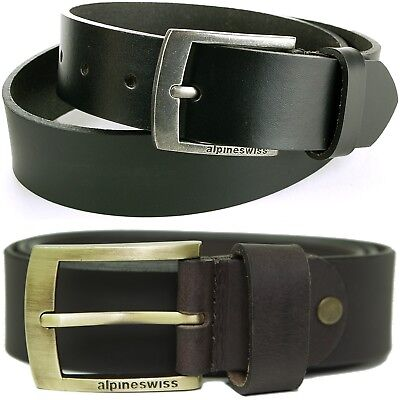"""Leather Jean Casual Belt - Alpine Swiss Men's Leather Belt Slim 1 1/4"""" Casual Jean Dakota Signature Buckle"""