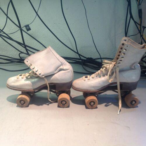 Vintage Chicago Roller Skates Co Ware Bros Wooden Wheel Skates