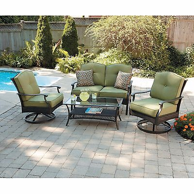 Patio Seating Set 4Pc Outdoor Loveseat Table Chair Cushion Garden Pool Furniture