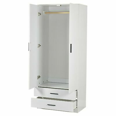 White Wardrobe With 2 Doors And 2 Drawers Bedroom Storage Hanging Bar Clothes