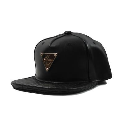 HATer Premium Black Leather Snapback Hat w/ Intrecciato Brim