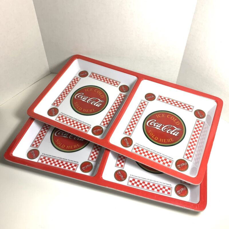 """Coca-Cola Gibson Divided Square Plastic Tray Plates Set of 2 