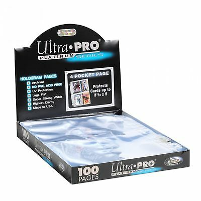 100 Pocket Album - 100 Ultra PRO Platinum 4-Pocket Trading/Gaming Card Album Pages/Binder Sheets