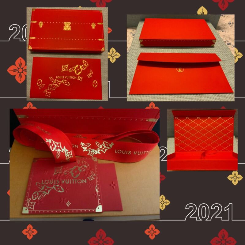 🧧 Authentic Louis Vuitton Red Envelope, Box, note card, Ribbon 🧧
