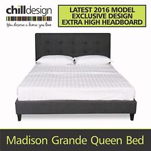 WAREHOUSE DIRECT UPHOLSTERED FABRIC QUEEN FRAME & TUFTED BED HEAD Moffat Beach Caloundra Area Preview