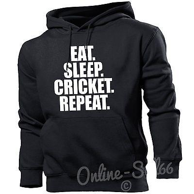 Eat Sleep Cricket Repeat Mens Bat Hoodie Present Ball Training Top Hoody Pad Cricket Mens Hoodie