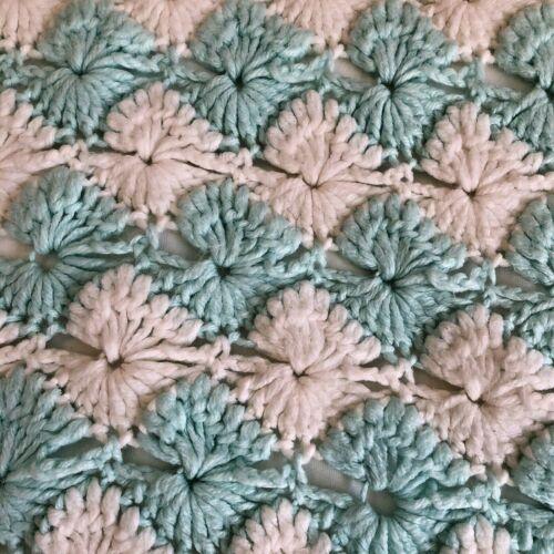 Handmade Crocheted Baby Blanket Afghan Throw Blue/Teal and White Beautiful