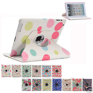 Floral Pu Leather 360 Rotating Flower Smart Cover Case for Apple iPad 4 3 2