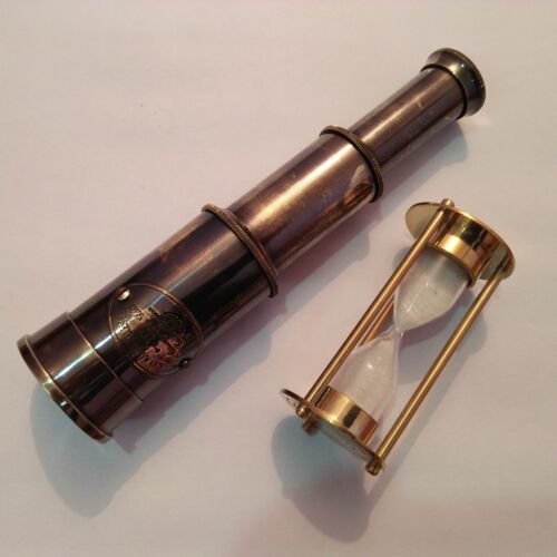 Antique Nautical Marine Brass Telescope With Mini Sand Timer Gift