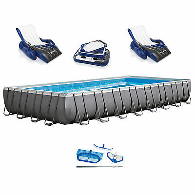 "Intex 32' x 16' x 52"" Ultra Frame Rectangular Swimming Pool Set 