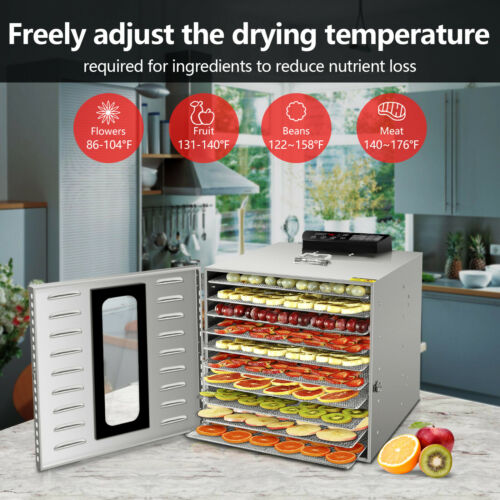 Commercial 6/8/10 Tray Stainless Steel Food Dehydrator Fruit
