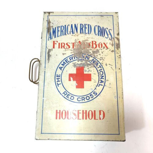 Vintage American Red Cross Metal Household First Aid Box