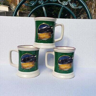 "Polar Express Mug 3D Raised Train ""Believe"" Coffee Cup Christmas 12oz - Set Of 3"