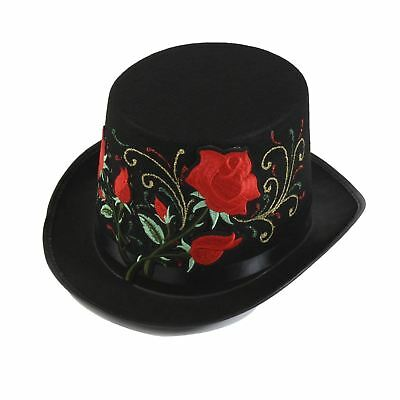 Glitter Top Hats (Steampunk Victorian Day Of The Dead Glitter Roses Top Hat Halloween)