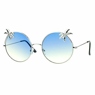 Super Flat Lens Sunglasses Thin Metal Round Circle Frame Palm Trees