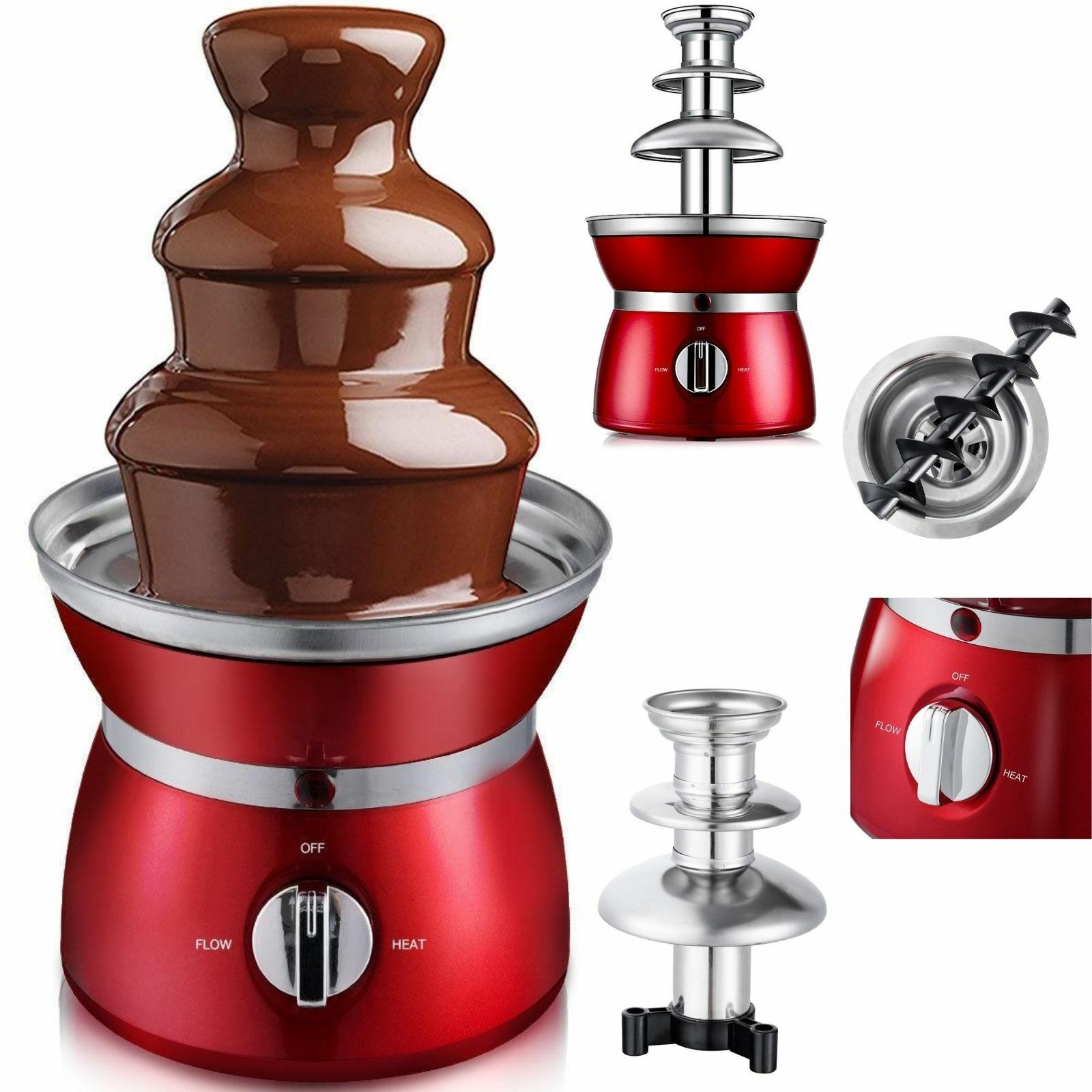 Chocolate Fondue Fountain 3 Tiers Stainless Steel 1.1Lbs Cap