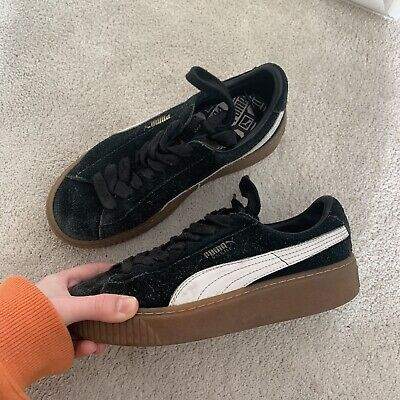 Puma Black And White Suede Trainers Brown Platform Sole Size UK 4