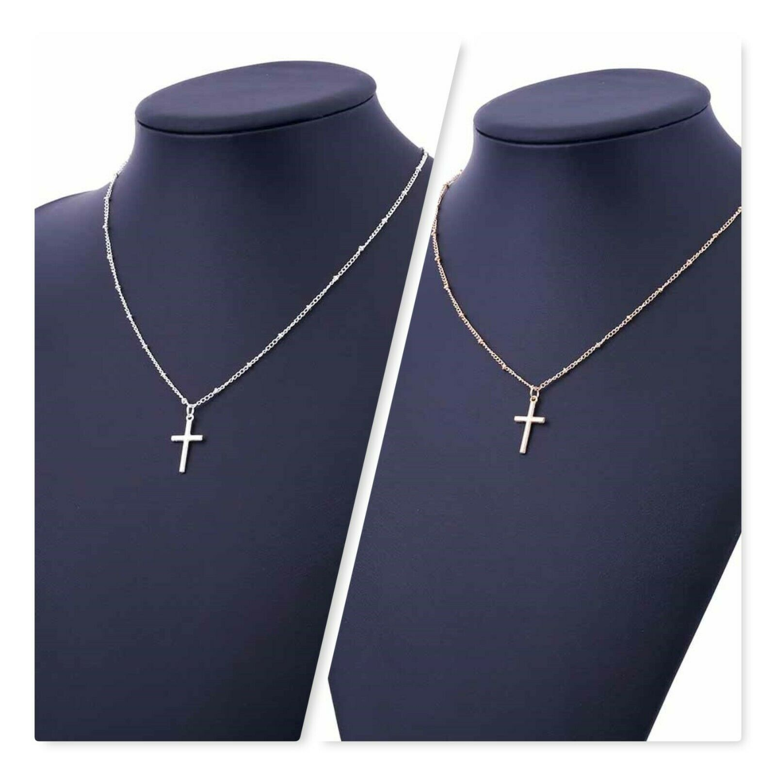Jewellery - Gold-Silver Chain Cross Necklace Small Gold Cross Religious Jewelry
