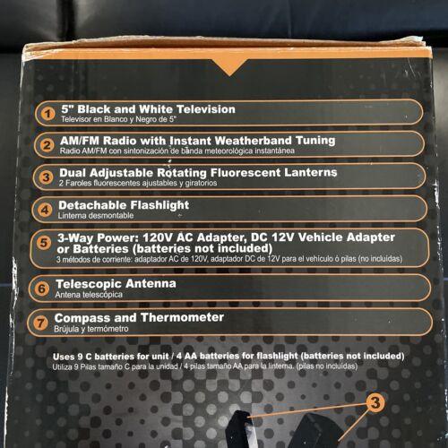 GPX 5 Black White TV AM FM Weatherband Radio Flashlight Lantern Camping NIB - $60.00