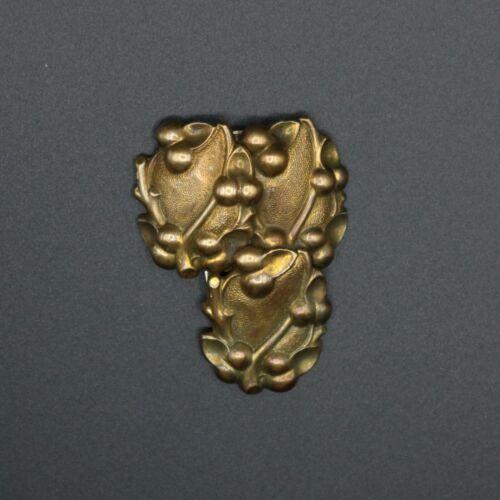 Vintage antique art nouveau era gilt bronze floral fauna scrolling dress clip