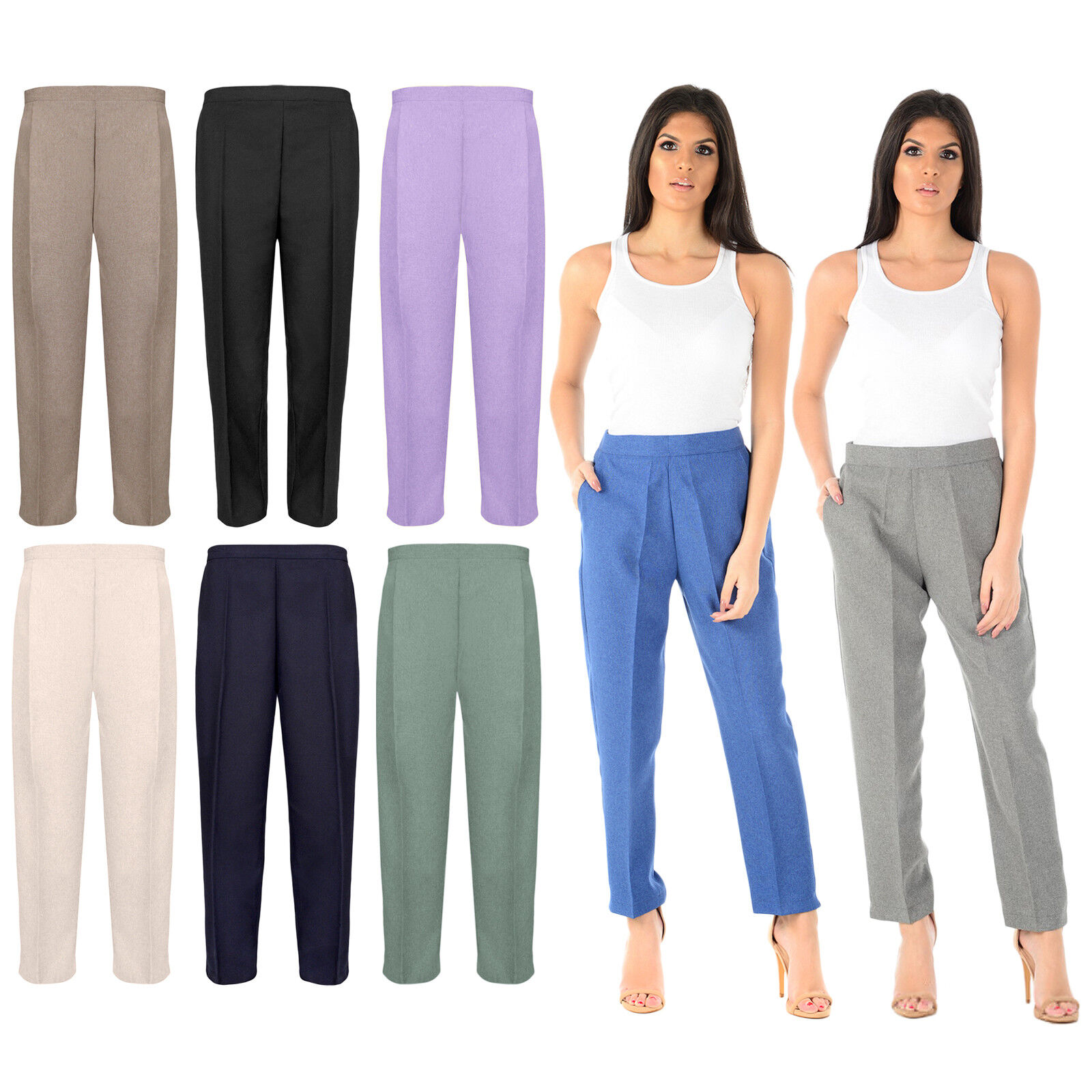NEW LADIES WOMENS HALF ELASTICATED STRETCH WAIST OFFICE WORK TROUSERS PANTS
