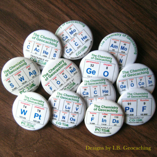 Set of 12 Trackable Chemistry of Geocaching Buttons - Different Designs