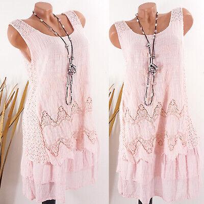 Kleid Damen Sommer Hippie Strand Lagenlook Ibiza Boho Stickerei rosa 38 40 42