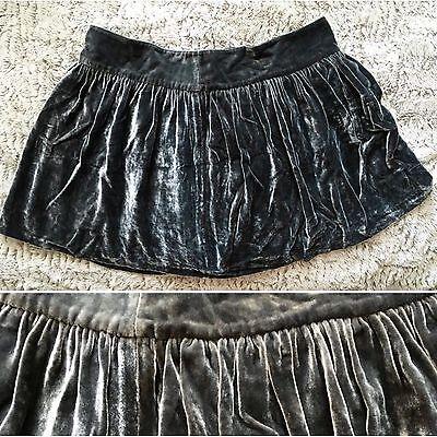 BIRD By Juicy Couture Sz XLarge XL Grey Velvet Velour Mini Scrunched Full Skirt