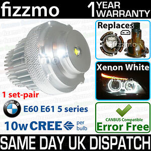 FIZZMO XENON WHITE LED ANGEL EYE BMW 5 SERIES E60 E61 LCI FACELIFT 10W CREE BULB