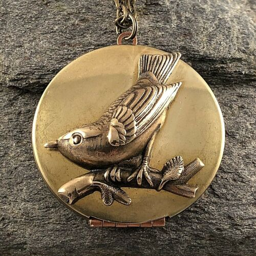 BIRD SPARROW / SWALLOW Vintage LOCKET NECKLACE Antiqued Brass GOOD QUALITY