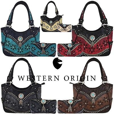 Western Style Tooled Leather Purse Country Handbag Women Shoulder Bag Wallet - Western Style Purse