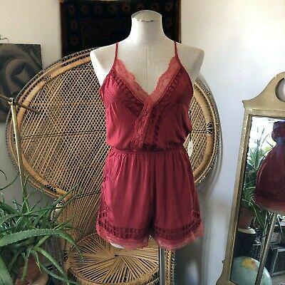 NWT Tularosa Revolve Womens Red Romper Lace Coachella Festival Size S (Coachella Romper)