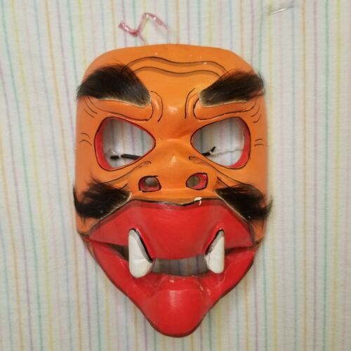 Orange Balinese Wayang Topeng Mask Hand Carved Wooden Demon Moveable Jaw Theater